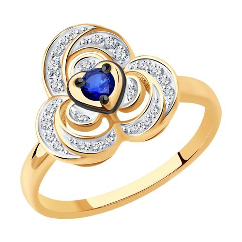 Кольцо 2011168 из золота с сапфиром и бриллиантом - SOKOLOV
