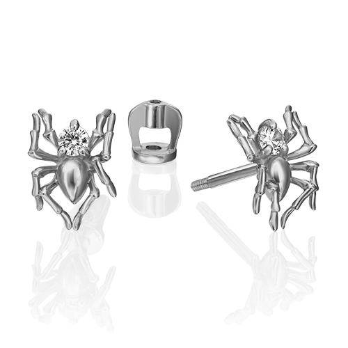 Серьги-пусеты из золота ПАУК, ювелирный завод ПЛАТИНА
