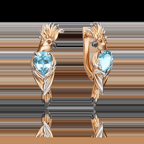 Серьги из золота в виде Попугая с голубым топазом, ювелирный завод ПЛАТИНА