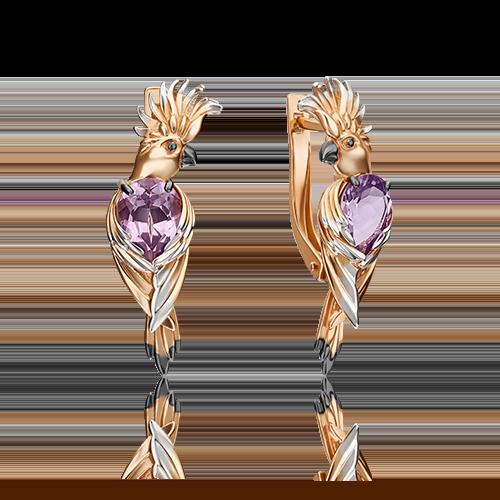 Серьги из золота в виде Попугая, ювелирный завод ПЛАТИНА