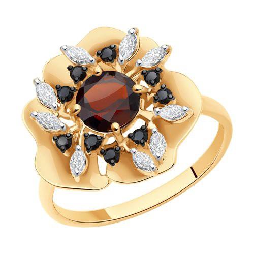 Кольцо 716477 из золота с гранатом - SOKOLOV
