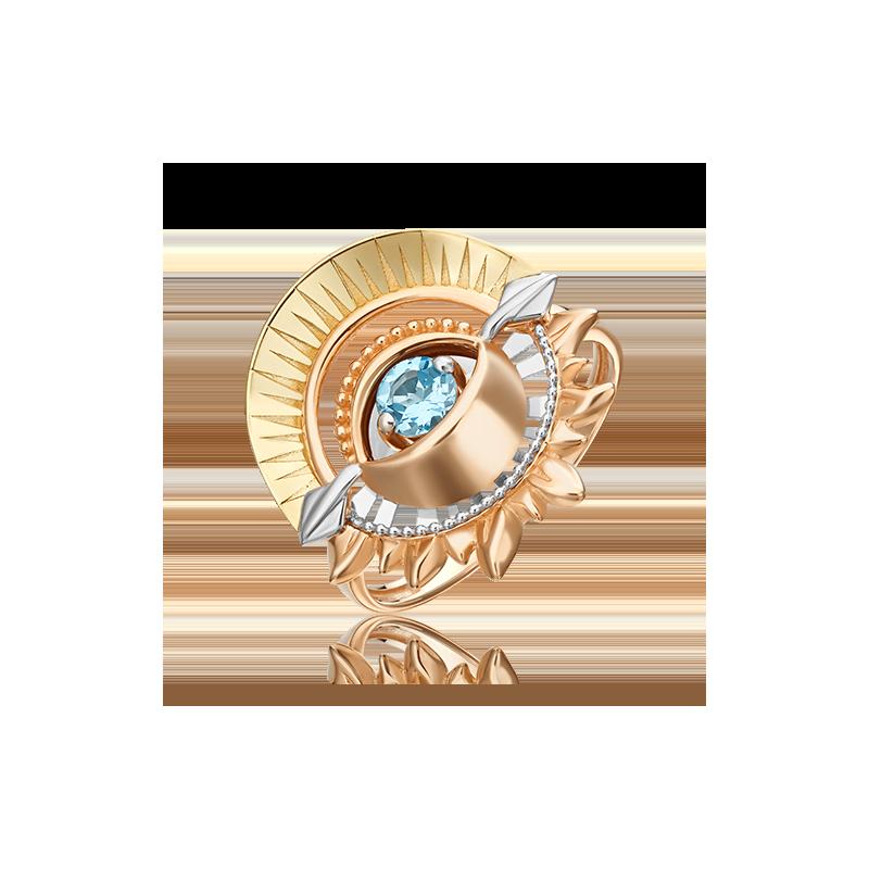 Кольцо из золота с топазом, ЮЗ Платина