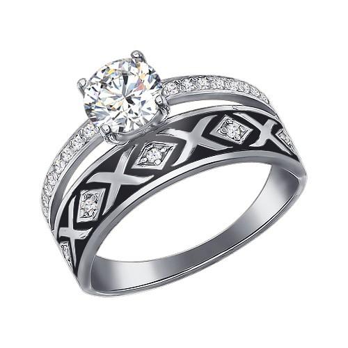 94011135 Кольцо SOKOLOV с эмалью из серебра