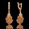 """Серьги """"Дубовые листья"""" из золота с цитрином, ювелирный завод ПЛАТИНА"""