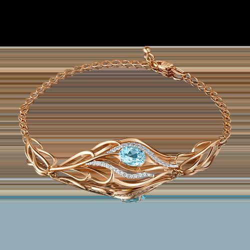 Браслет из золота с голубым топазом, ювелирный завод ПЛАТИНА