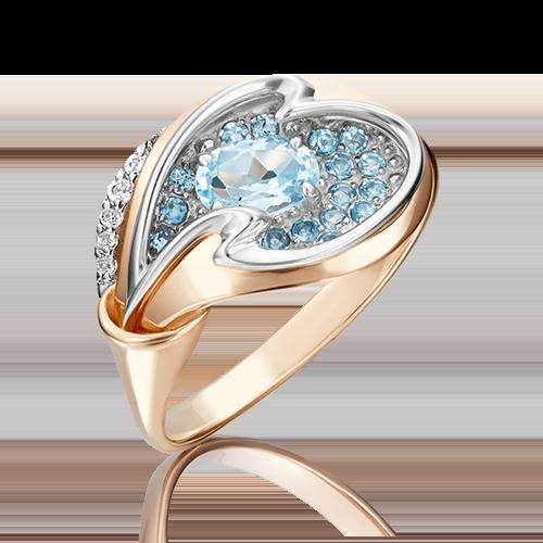 Кольцо из золота с голубым топазом, ювелирный завод ПЛАТИНА