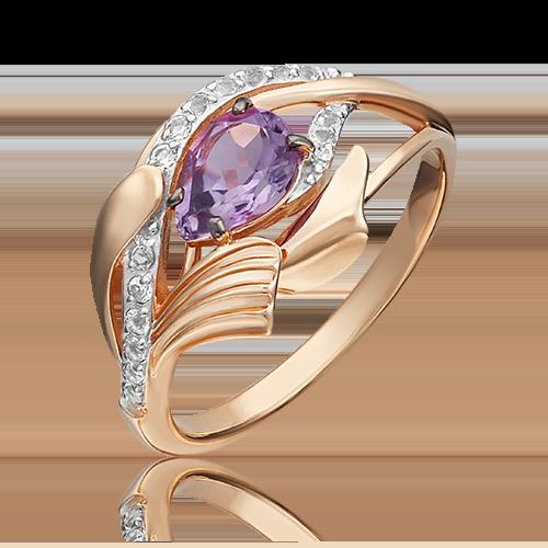 Кольцо из золота с аметистом, ювелирный завод ПЛАТИНА