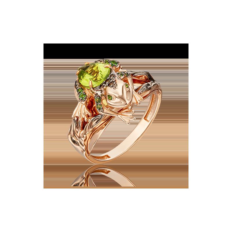 Кольцо из золота с хризолитом, ювелирный завод ПЛАТИНА
