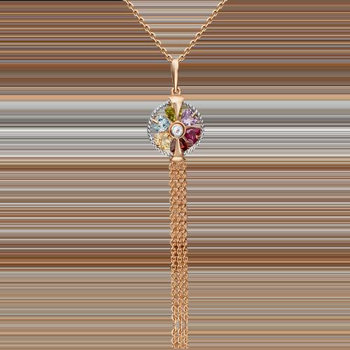 Подвеска из золота с миксом цветных камней, ювелирный завод ПЛАТИНА