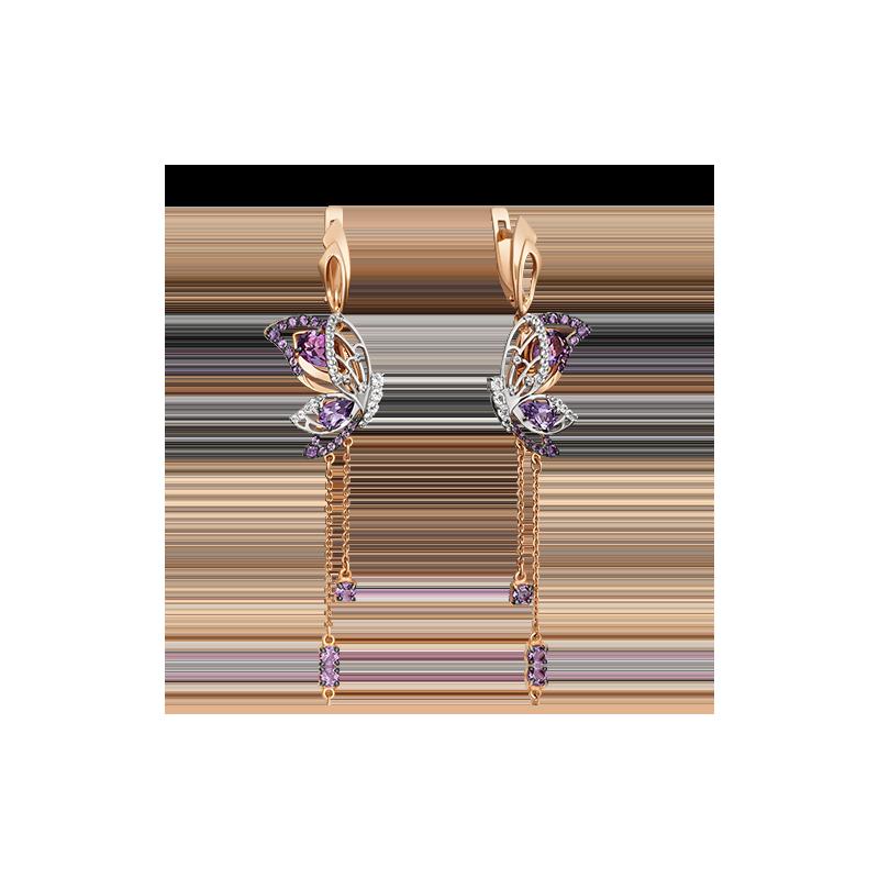 Серьги из золота с миксом цветных камней, ювелирный завод ПЛАТИНА
