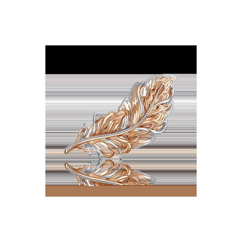 Брошь Перо 04-0193-00-000-1110-48  из золота ПЛАТИНА КОСТРОМА