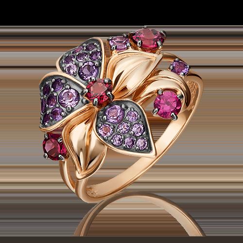 Кольцо из красного золота с аметистом и гранатом, ювелирный завод ПЛАТИНА