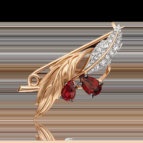 Брошь из красного золота с гранатом ПЛАТИНА КОСТРОМА