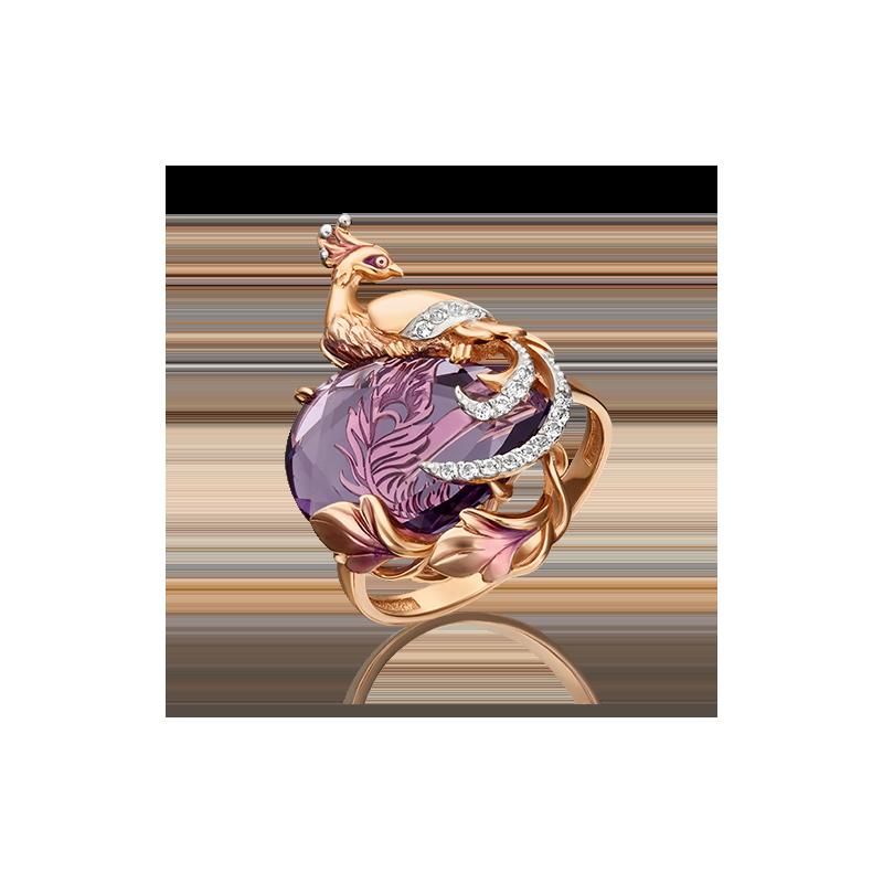 """Кольцо """"Жар-птица"""" из золота с аметистом, ювелирный завод ПЛАТИНА"""