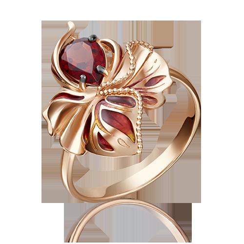 Кольцо с грантом и эмалью из золота, ювелирный завод ПЛАТИНА