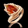 """Кольцо """"Перо"""" из золота с янтарем, ювелирный завод ПЛАТИНА"""