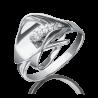 Кольцо из белого золота с фианитами, ювелирный завод ПЛАТИНА