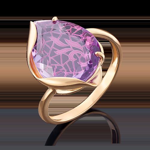 Кольцо с аметистом из золота, ювелирный завод ПЛАТИНА