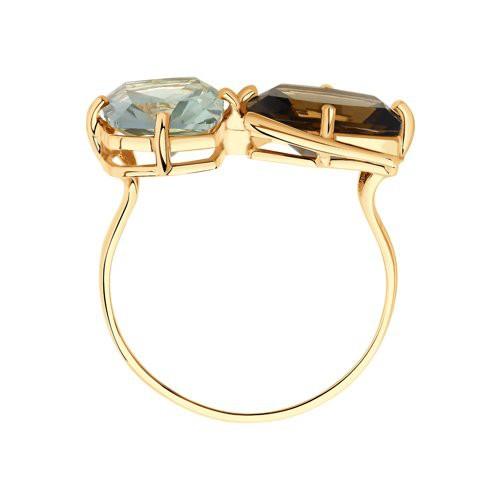 Кольцо716017 SOKOLOV из золота с раухтопазом и зеленым аметистом