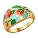 Кольцо SOKOLOV с эмалью из серебра с цветами розы 93010649