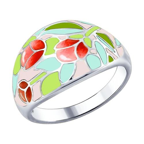Кольцо SOKOLOV с эмалью из серебра с цветами розы 94012266