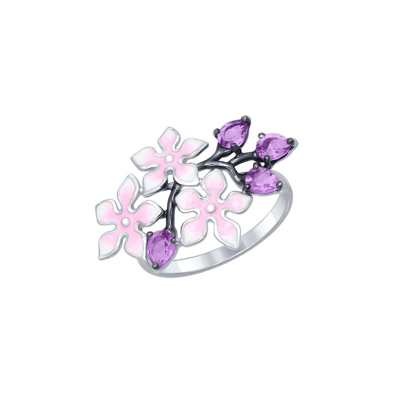 Кольцо SOKOLOV 92011319 с эмалью и аметистом из серебра с цветами незабудки