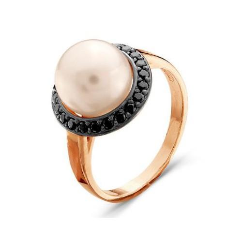 Кольцо с жемчугом из позолоченного серебра завода КРАСНАЯ ПРЕСНЯ