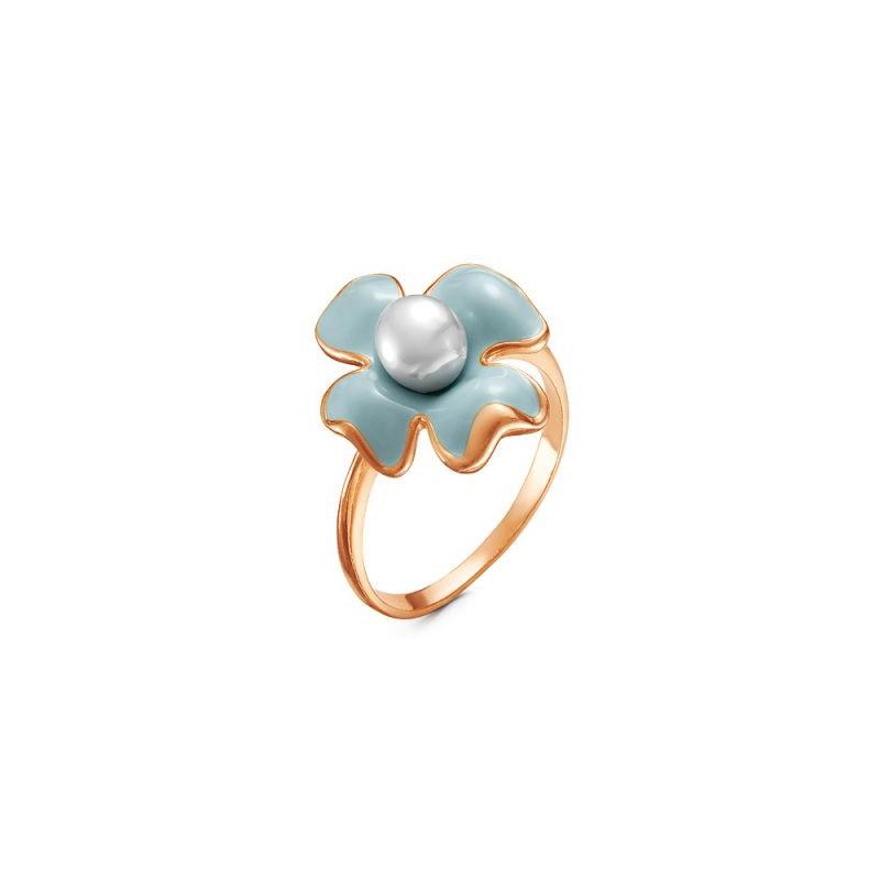 Кольцо из позолоченного серебра с жемчугом и эмалью,  КРАСНАЯ ПРЕСНЯ